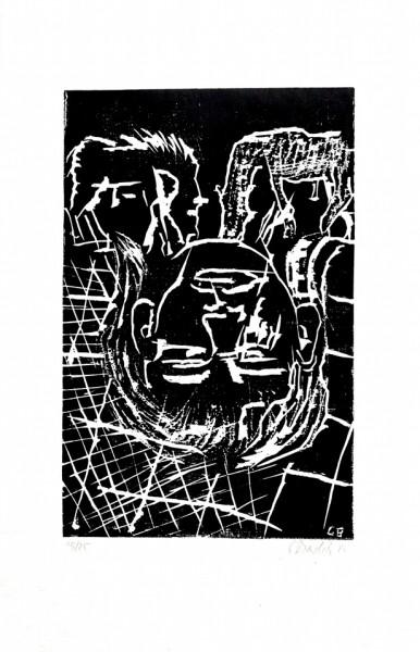Georg Baselitz - ohne Titel (Kopf mit geschlossenen Augen)