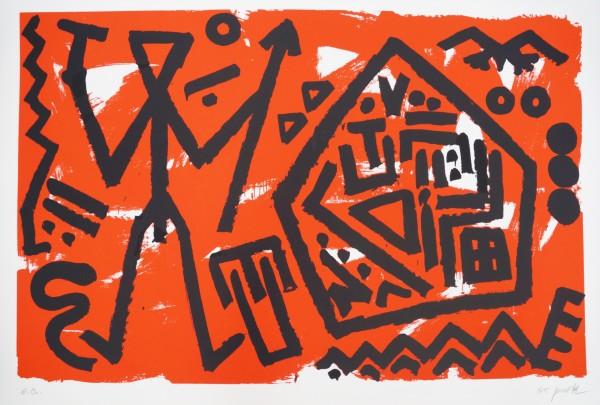 A.R. Penck - Pentagon rot