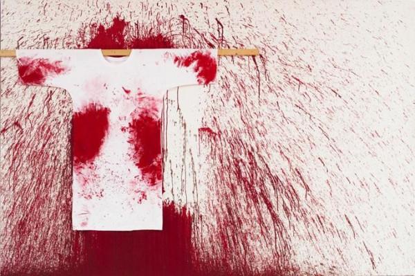 Hermann Nitsch - Schüttbild mit Malerhemd - 200x300cm - 2009
